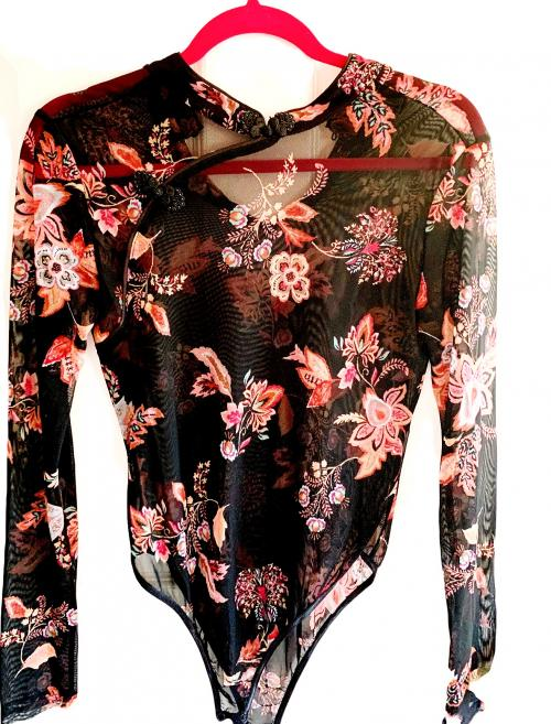 Forever 21 Black Sheer Traditional Chinese Qipao Style Bright Floral Design , Sheer top, Chinese style top, Sheer body suit