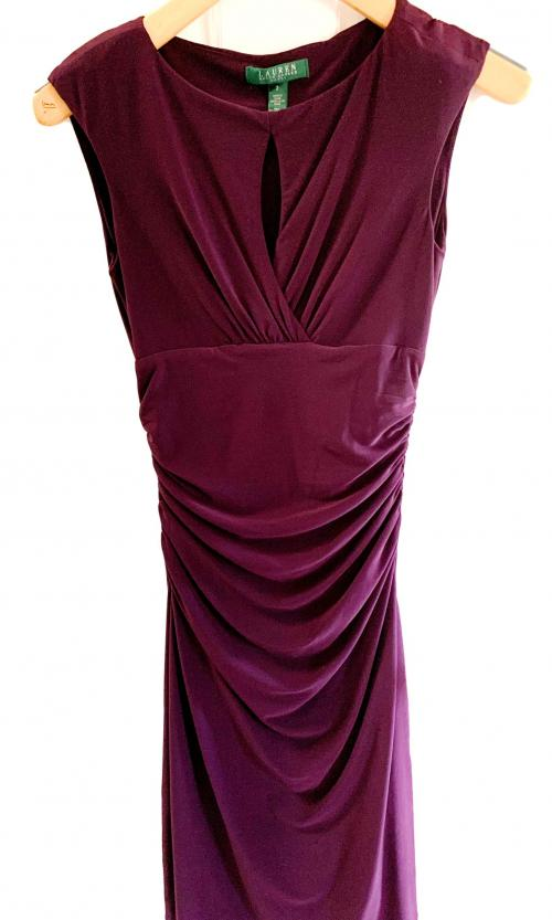 Ralph Lauren Fitted Simple Purple Sleeveless Peek a Boo Dress , Purple dress, fitted evening dress, Purple gown