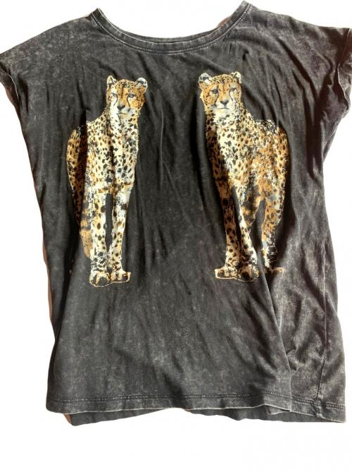Faded Black Cheetah Tee Shirt Melbourne Australia , Animal printed shirt, Leopard t-shirt, Cheetah t-shirt