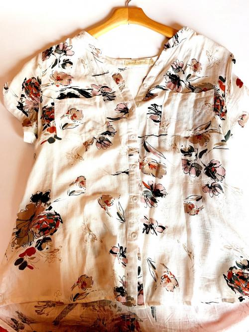 Creme Floral Short Sleeve Cotton Button Down Top Madrid Spain , Floral Shirt, Floral button down shirt