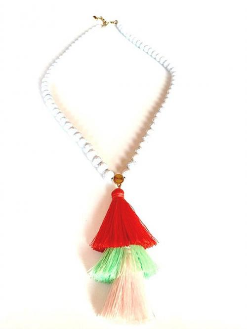 Long White Beaded Necklace with Red Green and Pink Accent Fringe , White beaded fringe necklace, Thread necklace, Beaded necklace