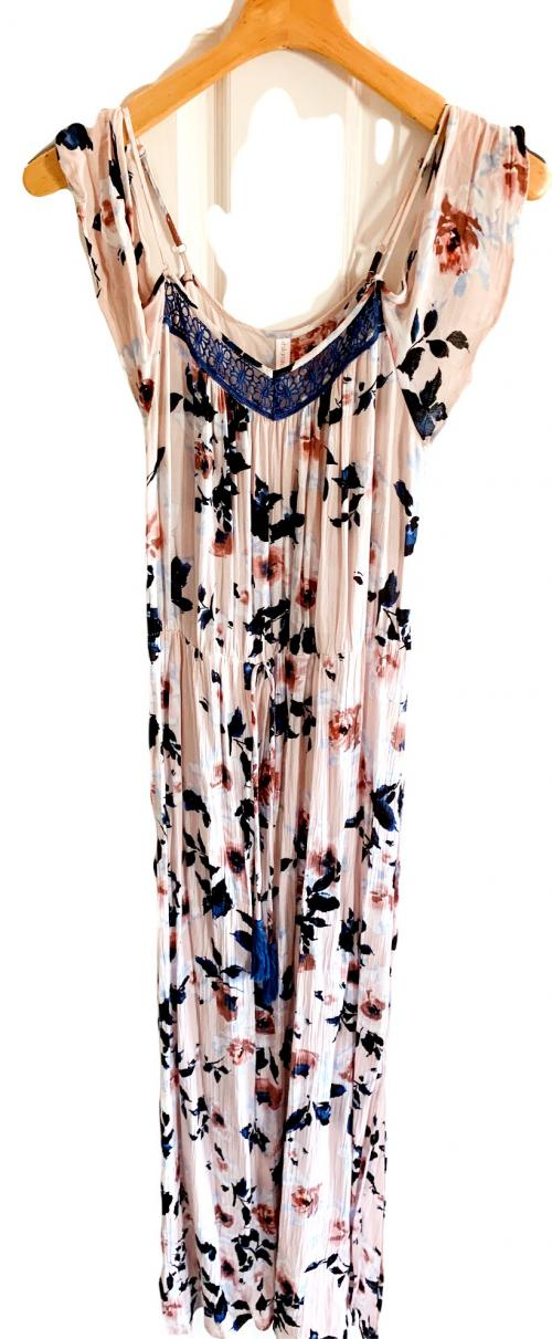 Pastel Pink and Blue Floral Long Summer Dress , Summer Dress, Floral Dress, Long Sexy Summer Dress