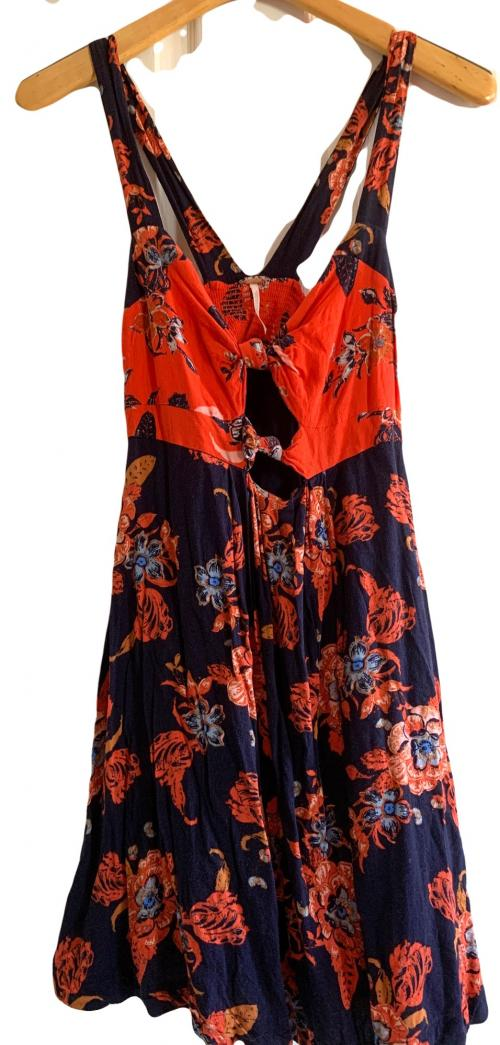 Orange and Blue Floral Free People Summer Dress , Sexy dress, going out dress, floral dress, Free People Dress