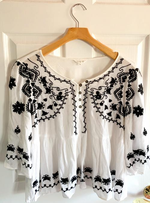 Black and White Peasant Embroidery Top , Peasant top, Embroidery design, Tribal design
