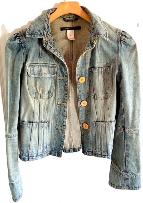 Marc Jacobs Blue Fitted Jean Jacket Yellow Buttons , Marc Jacobs, Jean Jacket, Fitted Jean Jacket