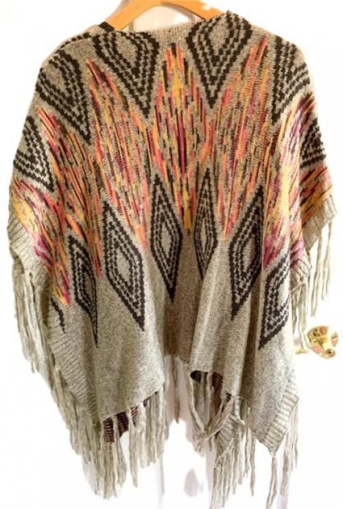 Argentina Multicolored Tribal Throw Fringe Sweater , Fringe Sweater, Buenos Aires fashion, Tribal Sweater