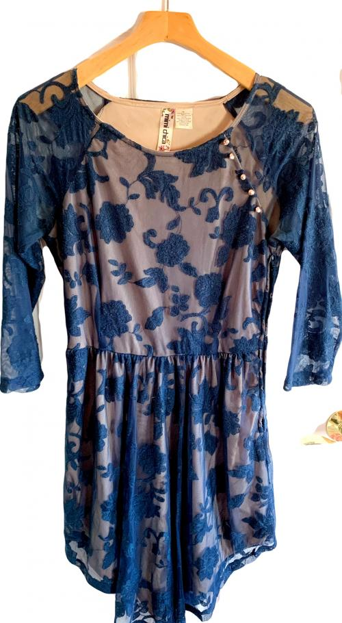 Blue lace long sleeve asymmetrical dress , floral lace dress, long sleeve dress
