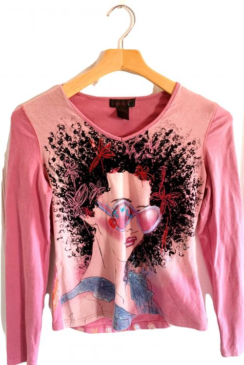 Custo Barcelona Girl w Afro Pink Long Sleeve Top , Custo Barcelona, Pink long sleeve top, funky top