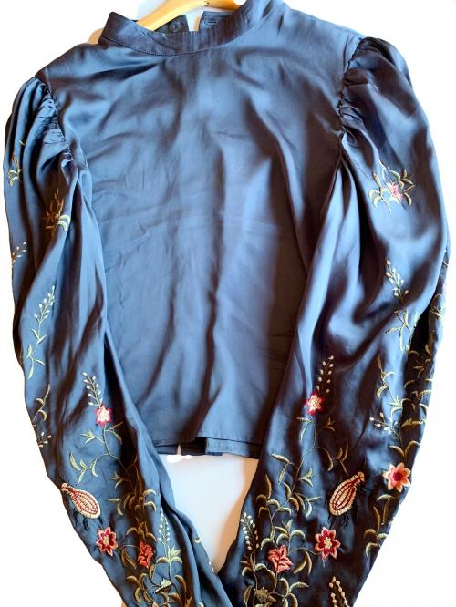HM Blue Silky Floral Long Sleeve Blouse Embroidery Designed Sleeves , Blue long sleeve top, designed shirt, embroidery short, silky button down shirt, HM top