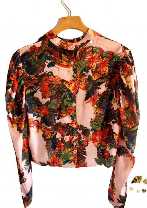 HM Pink Bright Floral Puffed Sleeve Blouse , Pink floral silky shirt